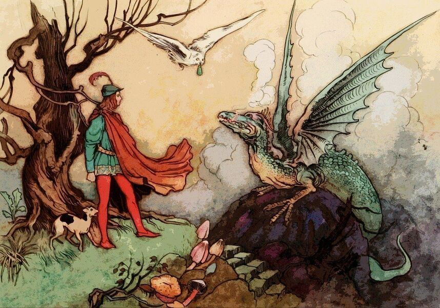 The man and the dragon.